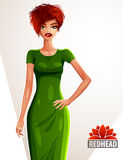 Young pretty Caucasian woman holding her hand on a waist, full body portrait. Gorgeous red-haired lady Stock Images