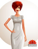 Young pretty Caucasian woman holding her hand on a waist, full body portrait. Gorgeous red-haired lady with stylish haircut Royalty Free Stock Images