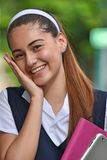 Catholic Colombian Student Teenager Smiling With Books