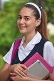 Catholic School Girl Student Teenager Smiling Wearing Uniform With Books