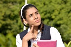 Colombian Female Student Deciding royalty free stock image