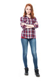 Young pretty curly woman in plaid shirt Royalty Free Stock Images