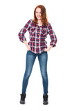 Young pretty curly woman in plaid shirt Stock Photography