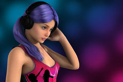 Young pretty dolly with headphones. Cute young girl with earphones enjoying music 3D render illustration Stock Images