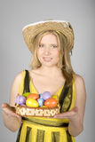 Young pretty easter woman with colourfull eggs Stock Images