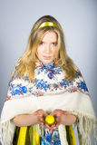 Young pretty easter woman with colourfull eggs Royalty Free Stock Photos