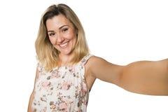 Young pretty fashion blonde woman taking self shot photo Stock Image