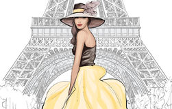 Young pretty fashion model with hat in Paris Royalty Free Stock Images
