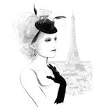 Young pretty fashion model in Paris. Young pretty fashion model with a bibi hat in Paris - Vector illustration Royalty Free Stock Image