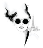Young pretty fashion model in Paris Stock Image