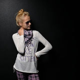 Young pretty fashion teenage girl standing in sunglasses Royalty Free Stock Photo