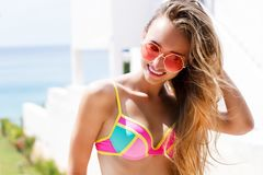 Free Young Pretty Fashion Woman In Red Sunglasses Posing Outdoor In Summer On Tropic Island In Hot Weather In Bikini Fashion Photo Stock Photos - 155732153
