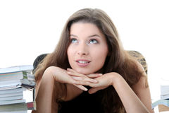 Young and pretty female student with books Royalty Free Stock Image
