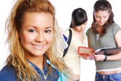 Young pretty female students Stock Photography