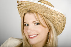Young pretty funny country sumer woman in a hat Stock Photos