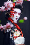 Young pretty geisha in kimono Stock Photography