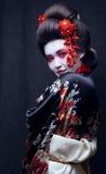 Young pretty geisha in kimono with sakura and Royalty Free Stock Photography
