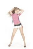Young pretty girl. Is dancing over white Royalty Free Stock Photography