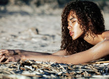 Young pretty girl asian face curly hairstyle at beach Stock Images
