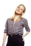 Young pretty girl blond teenager on white isolated blond happy smiling, lifestyle people concept Stock Image