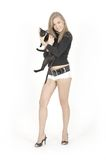 Young pretty girl and cat. Young pretty girl over white with black oriental cat Stock Images