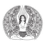 Young pretty girl doing yoga. Vintage decorative  illustration. Hand drawn background. Mehenidi ornate decorative style. Yog. A studio concept, Indian, Hindu Stock Photography