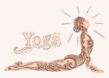 Young pretty girl doing yoga. Vintage decorative  illustration. Royalty Free Stock Photos