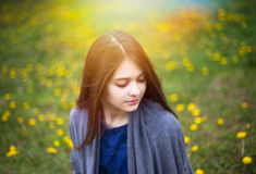 Young pretty girl enjoy spring park. Relax picture Royalty Free Stock Photos