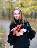 Young pretty girl in fall forest. Portrait of a pretty smiling girl with leaves in fall forest Stock Photos