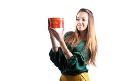 Young Pretty Girl with Gift Box on white Stock Image