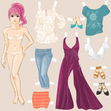 Young pretty girl hand drawn in anime style. Summer wardrobe. Dress up doll. Vector illustration Stock Photos