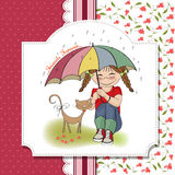 Young pretty girl and her cat, friendship card Royalty Free Stock Image