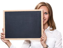 Young pretty girl holding chalkboard stock photos