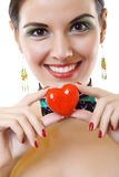 Young pretty girl holding heart Stock Photos