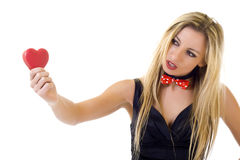 Young pretty girl holding heart Royalty Free Stock Photography