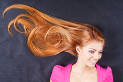 Young pretty girl with long hair Stock Photos