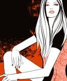 Young pretty girl in orange vector illustration