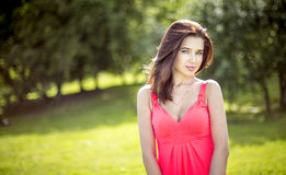 Young pretty girl in park in spring Royalty Free Stock Photos