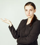 Young pretty girl pointing on white background, business science people concept Royalty Free Stock Photos