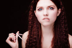 Young pretty girl portrait. Young pretty girl with long red curly hair Royalty Free Stock Photos