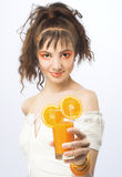 Young pretty girl portrait. Young pretty girl with glass of orange juice Stock Photo