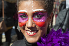 Young pretty girl portrait at Carnival parade of Badajoz Royalty Free Stock Photography