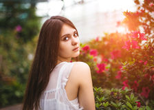 Young pretty girl posing near beautiful leaves and flowers Royalty Free Stock Photography