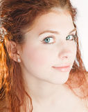 Young pretty girl with red hair Stock Photo