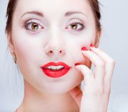 Young pretty girl with red lips Royalty Free Stock Photos
