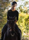 Young pretty girl riding a horse with backlit leaves behind Royalty Free Stock Photos