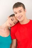 Young pretty girl sleeping on shoulder. Royalty Free Stock Photos
