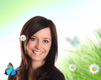 Young pretty girl in spring nature Royalty Free Stock Photos