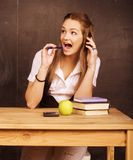 Young pretty girl student in classroom Royalty Free Stock Image