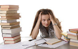 Young pretty girl studying for exams Stock Photography